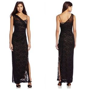 Jump Apparel Black Laced Sequin Sheer Overlay Gown